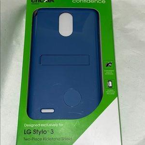 💜LG Stylo3 Two-Pc kickstand Shield HardPhoneCase